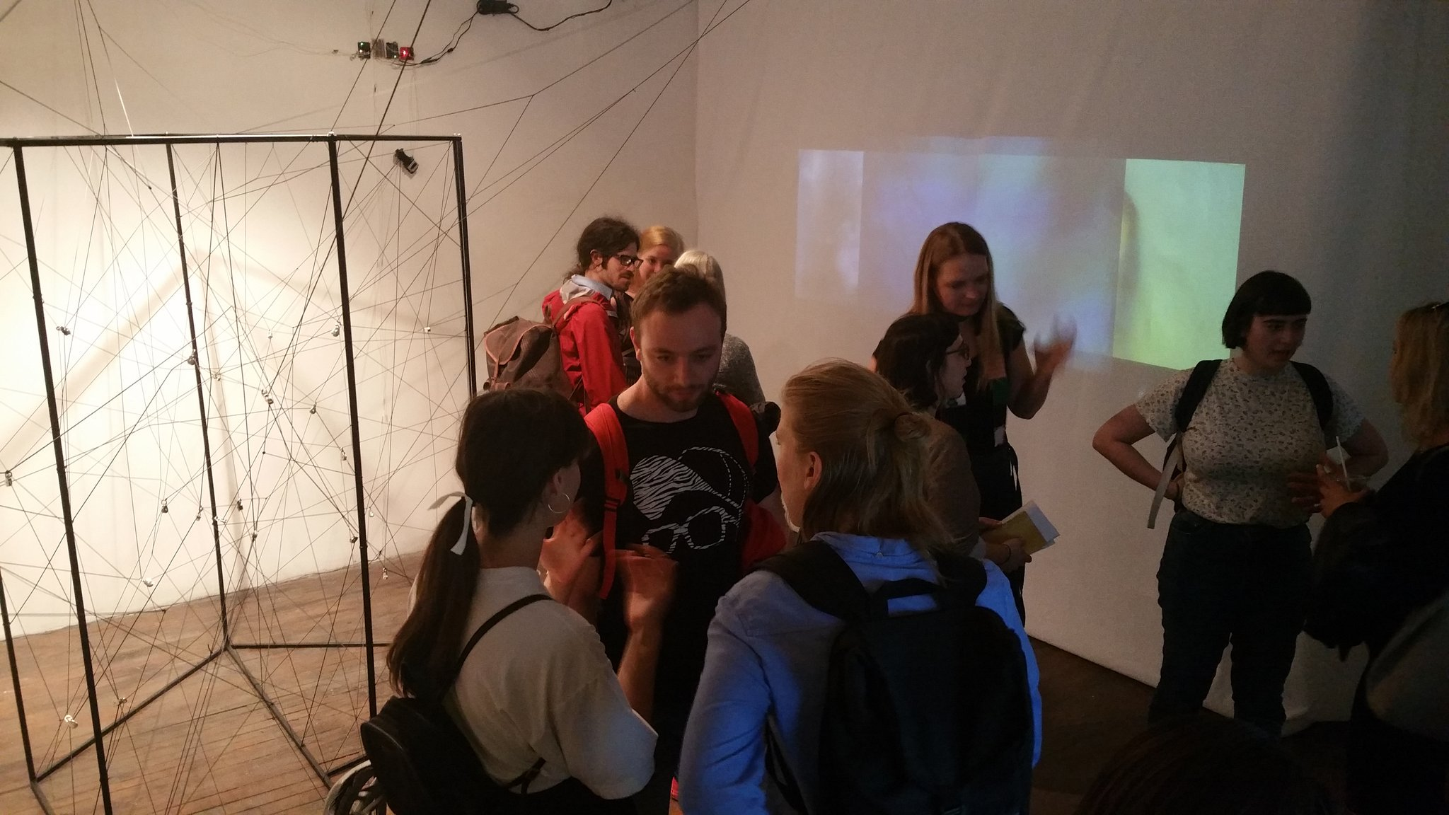 gallery goers check out sciart at the visual voice gallery