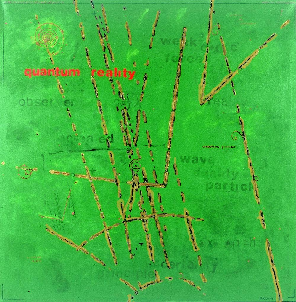 Bright orange lines intersect this violent green canvas