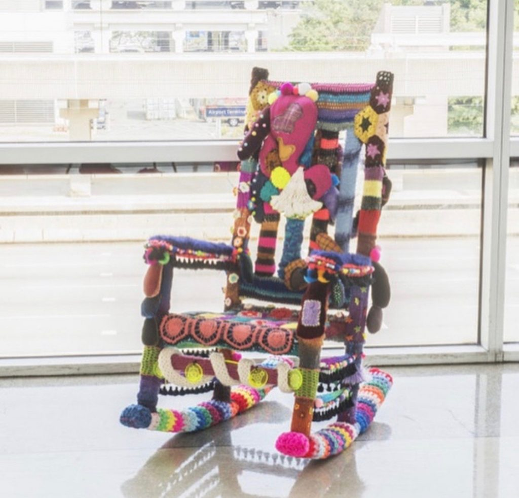 Crochet covered chair