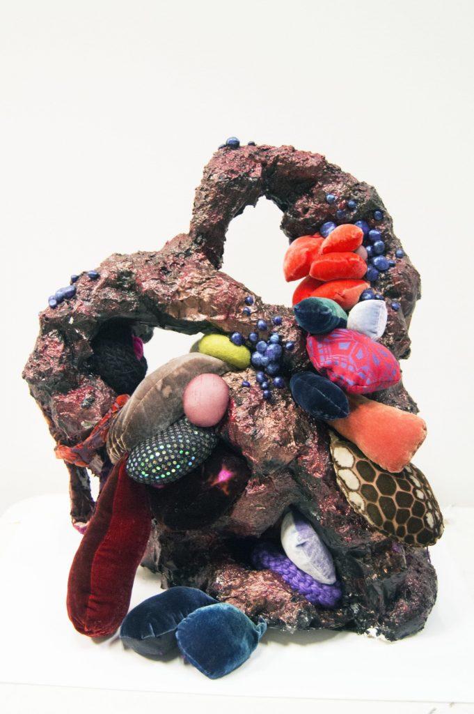 a colourful bioart sculpture
