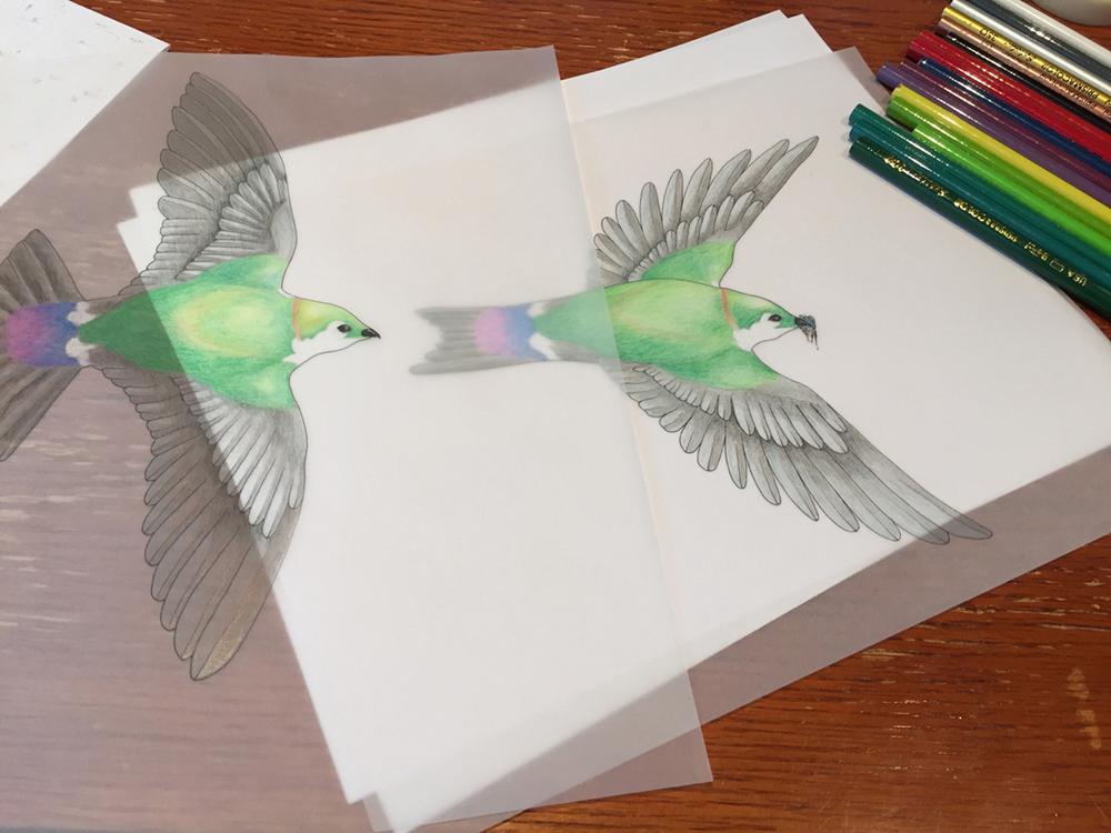 """Original sketch (in colour) for Cara Gibson's """"Decomposition"""""""