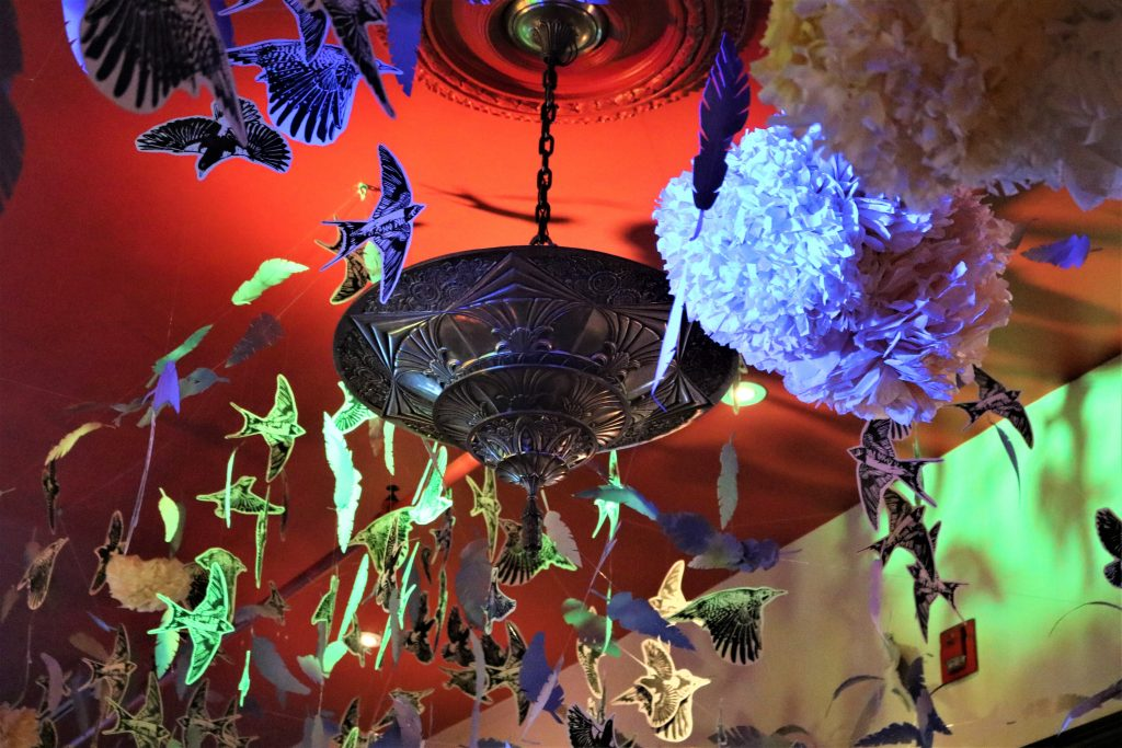 Flowers, paper birds and feathers hanging from ceiling around a lamp