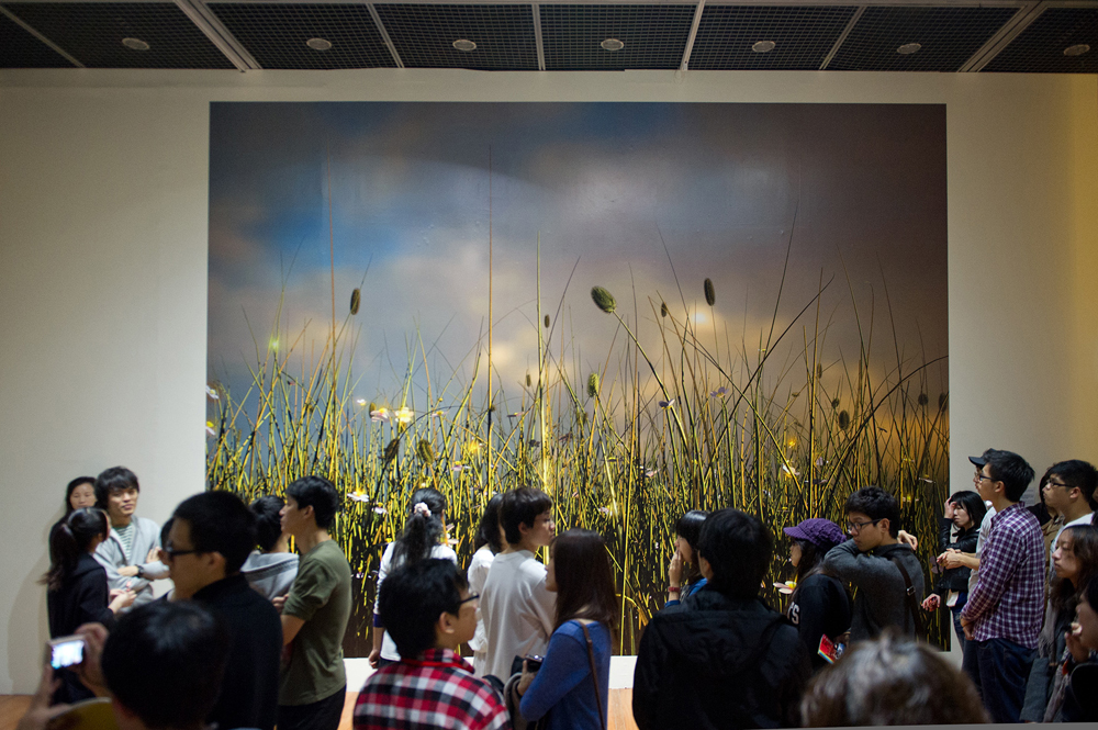 A group of people stare at McCormack's digital print of evolved virtual plants