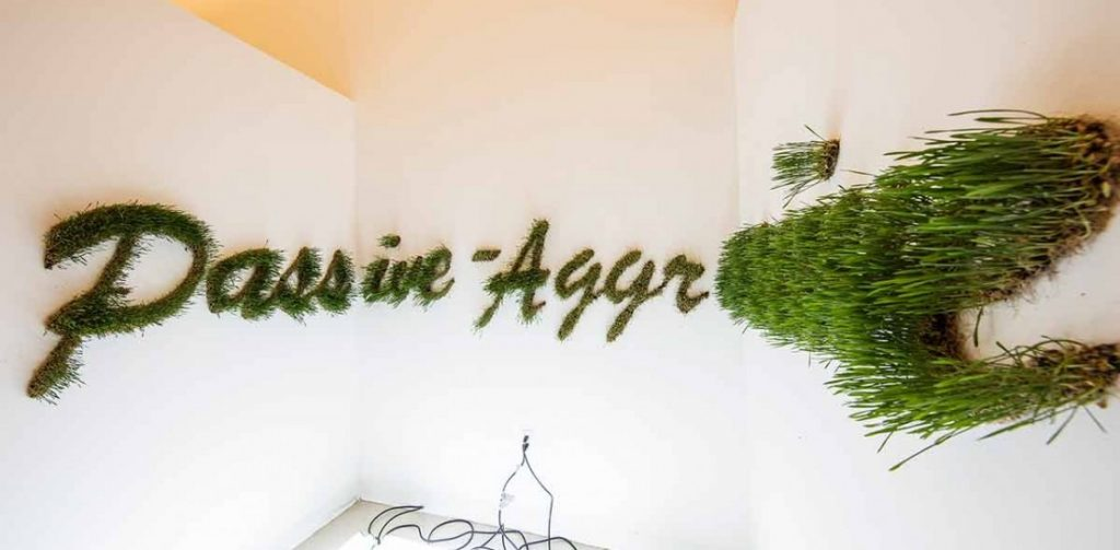 """The word """"Passive-Agressive"""" made of grass hung on the wall"""