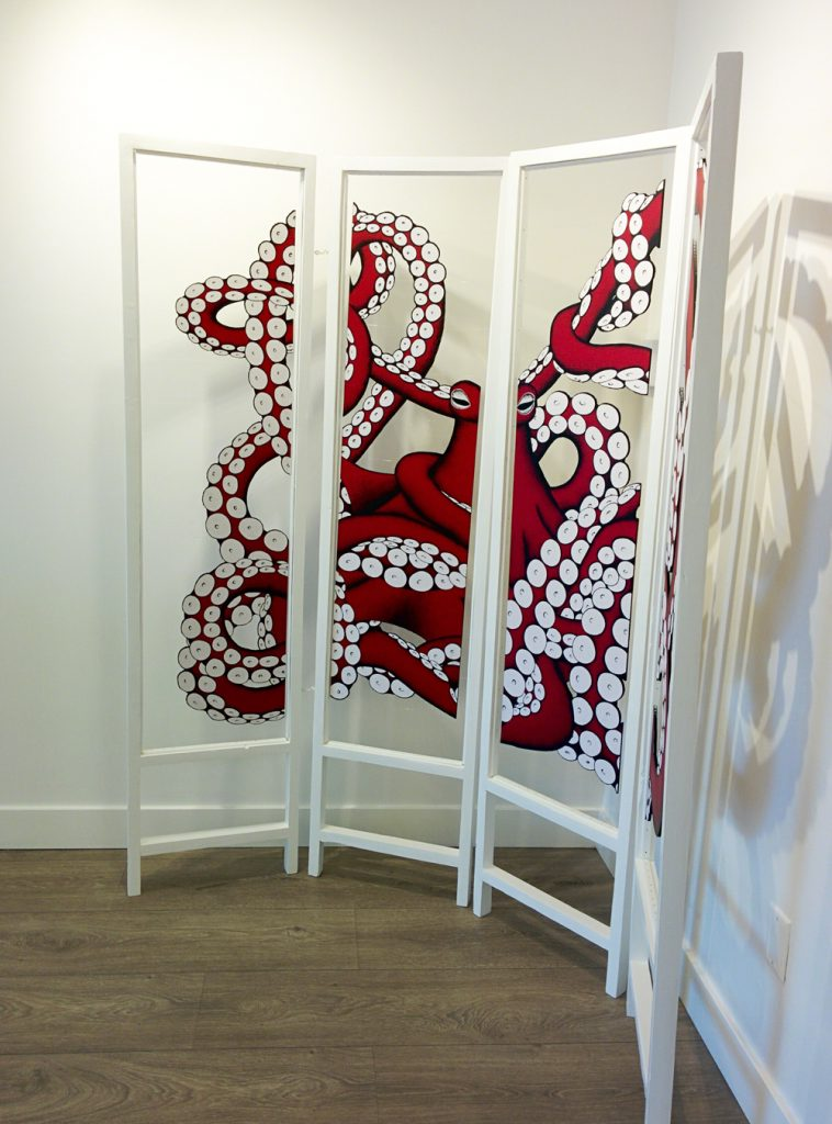 A 3-panel octopus painting by Ilka Bauer