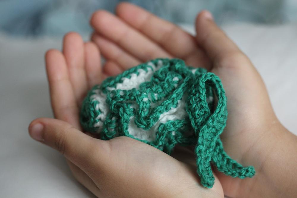 Crocheted Cerebral Palsy Awareness sciart by Tahani Baakdhah