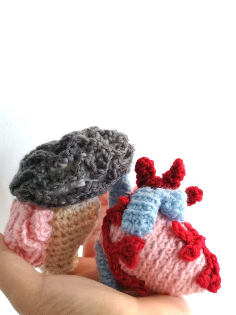 Crocheted heart and brain sciart by Tahani Baakdhah