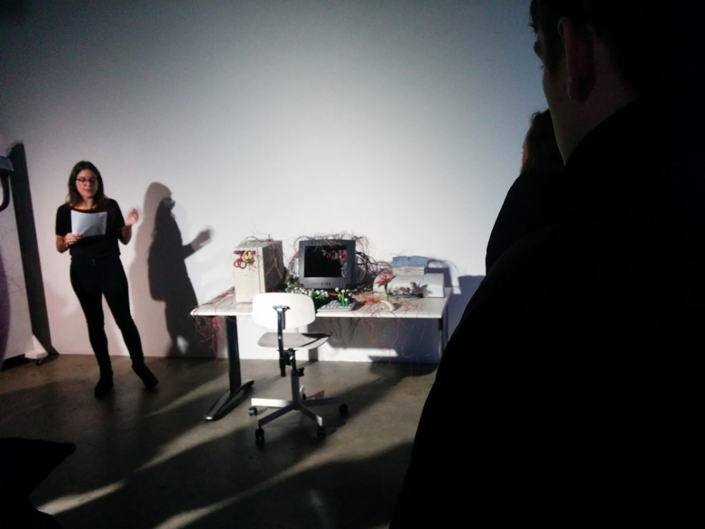 Char Hoyt offering a curatorial tour at Collisions Festival