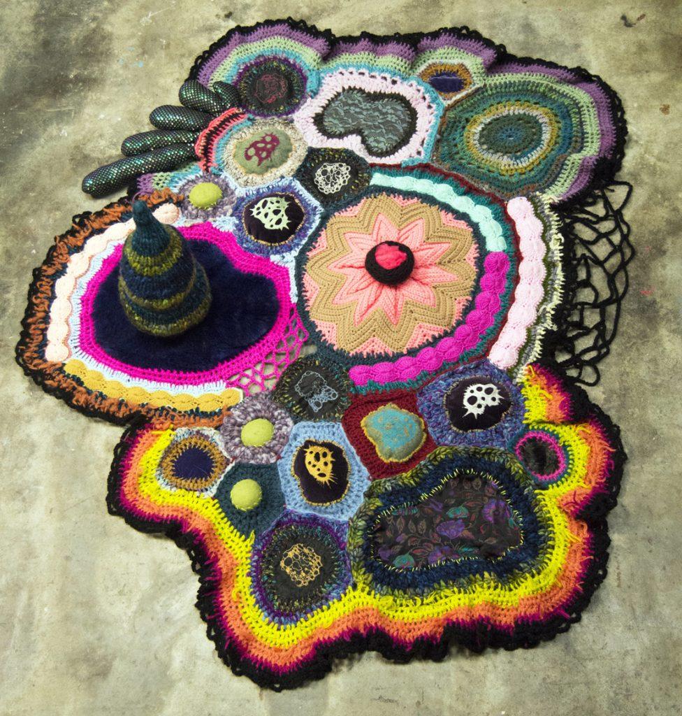 Crocheted artwork of lifeblood