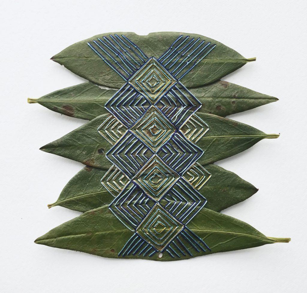 embroidered leaf art