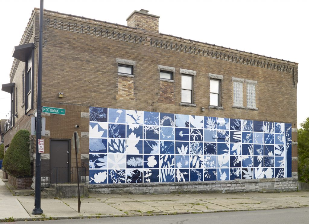 a blue and white mural
