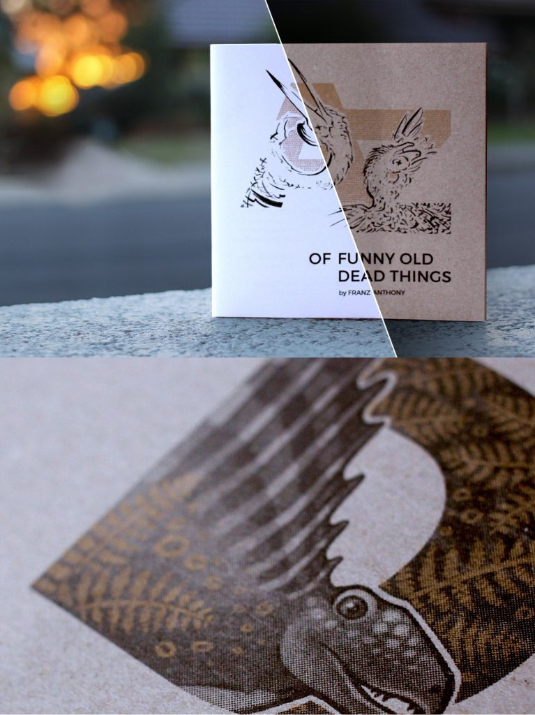 A-Z of Funny Dead Things magazine cover on top with a close-up of an illustration beneath