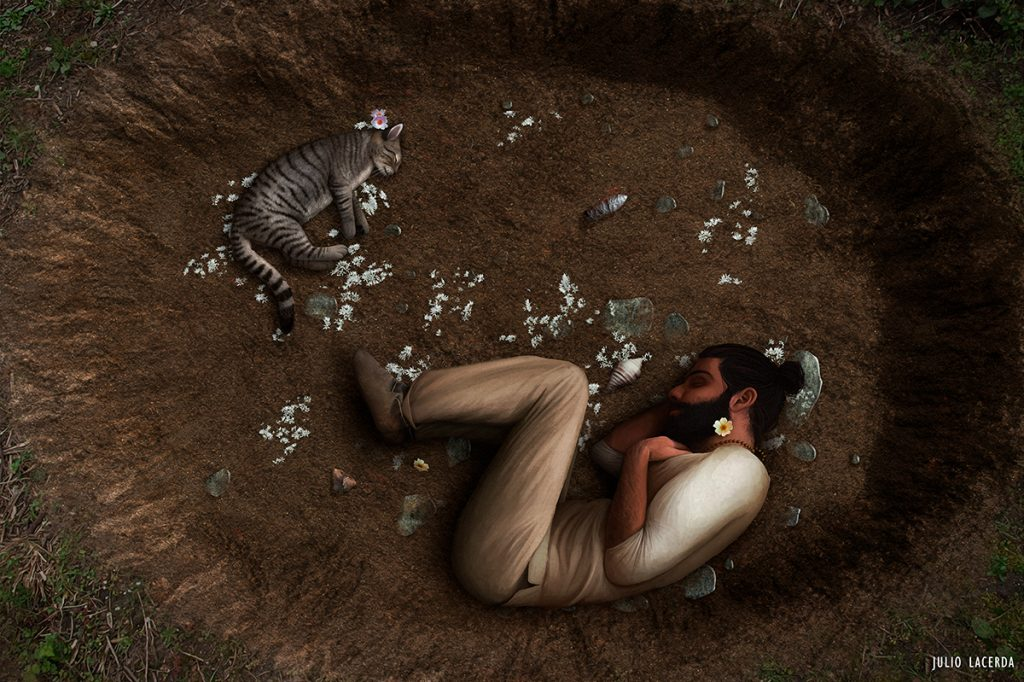 Shallow, round grave with a prehistoric man and a cat