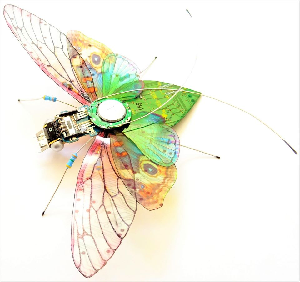 Fly made with circuit board and other computer components.