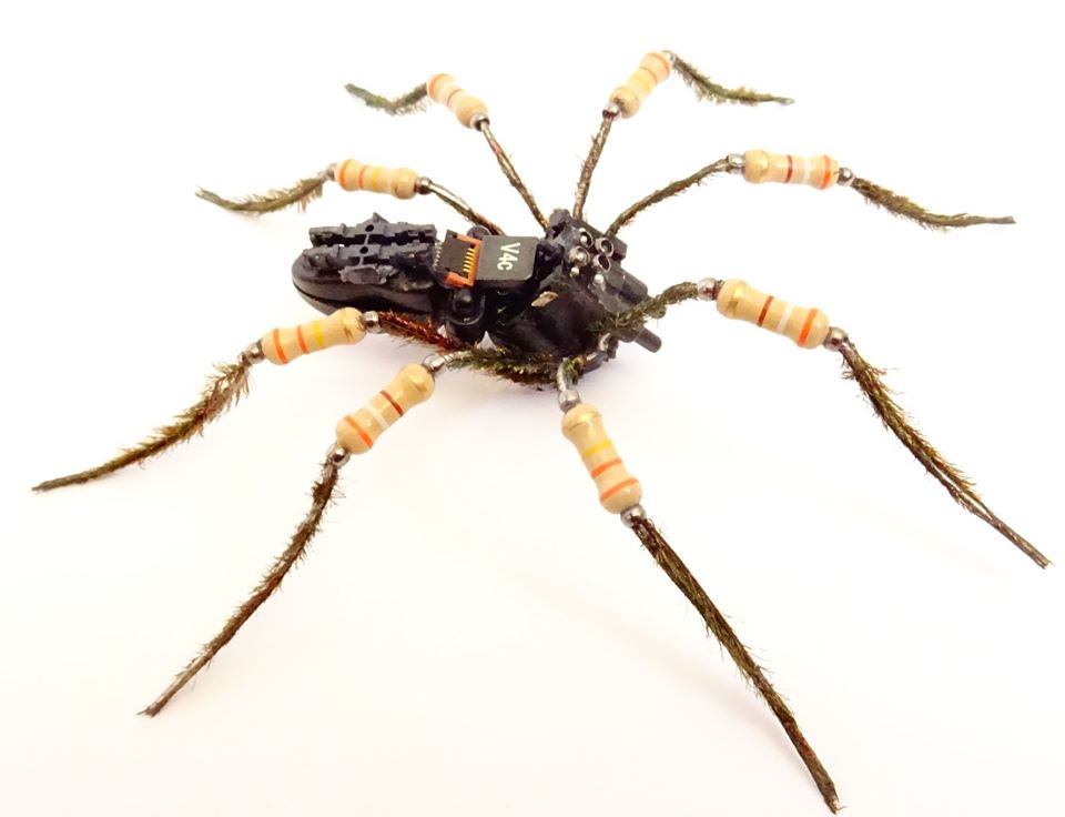 Hairy spider made of computer components.