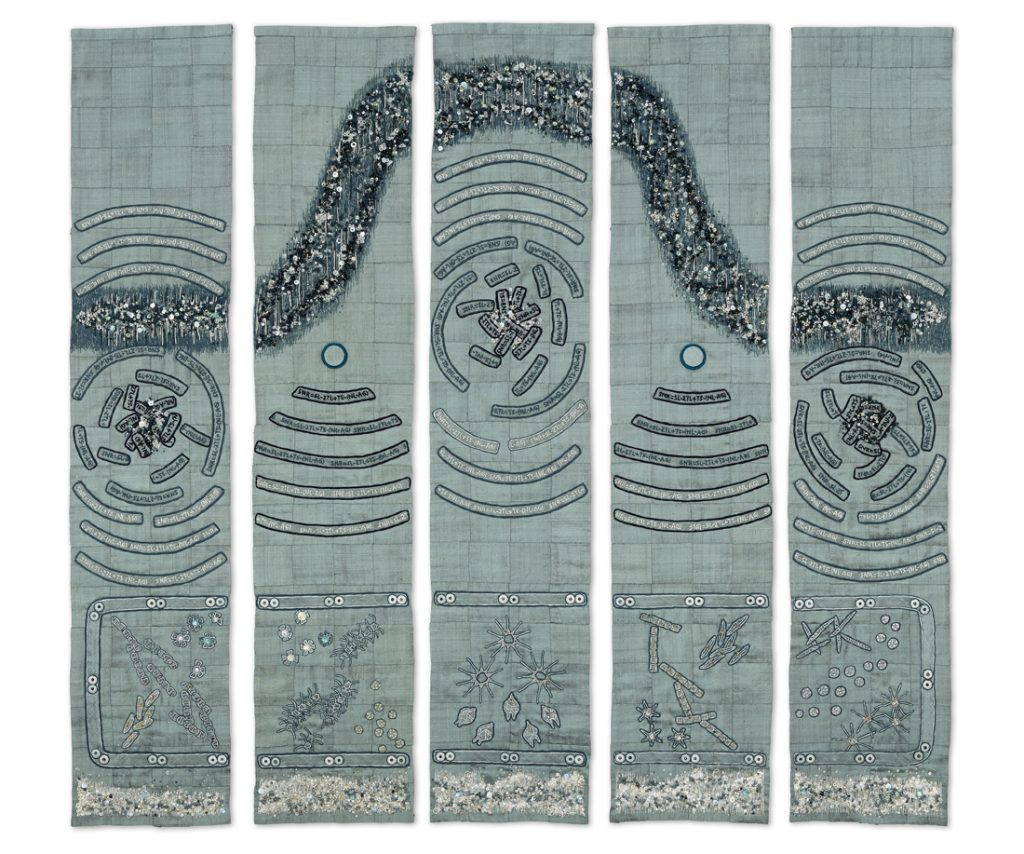 5 rectangular pieces of embroidered silk