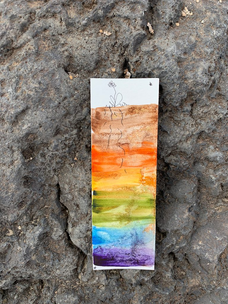 Thin soil profile with line drawing flower on top and rainbow gradient of soil below. Painting is resting on a large rock.