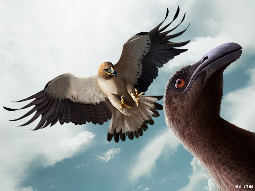 Looking up to the sky at an eagle swooping down to attack a dinosaur. Only the dinosaur head is visible.