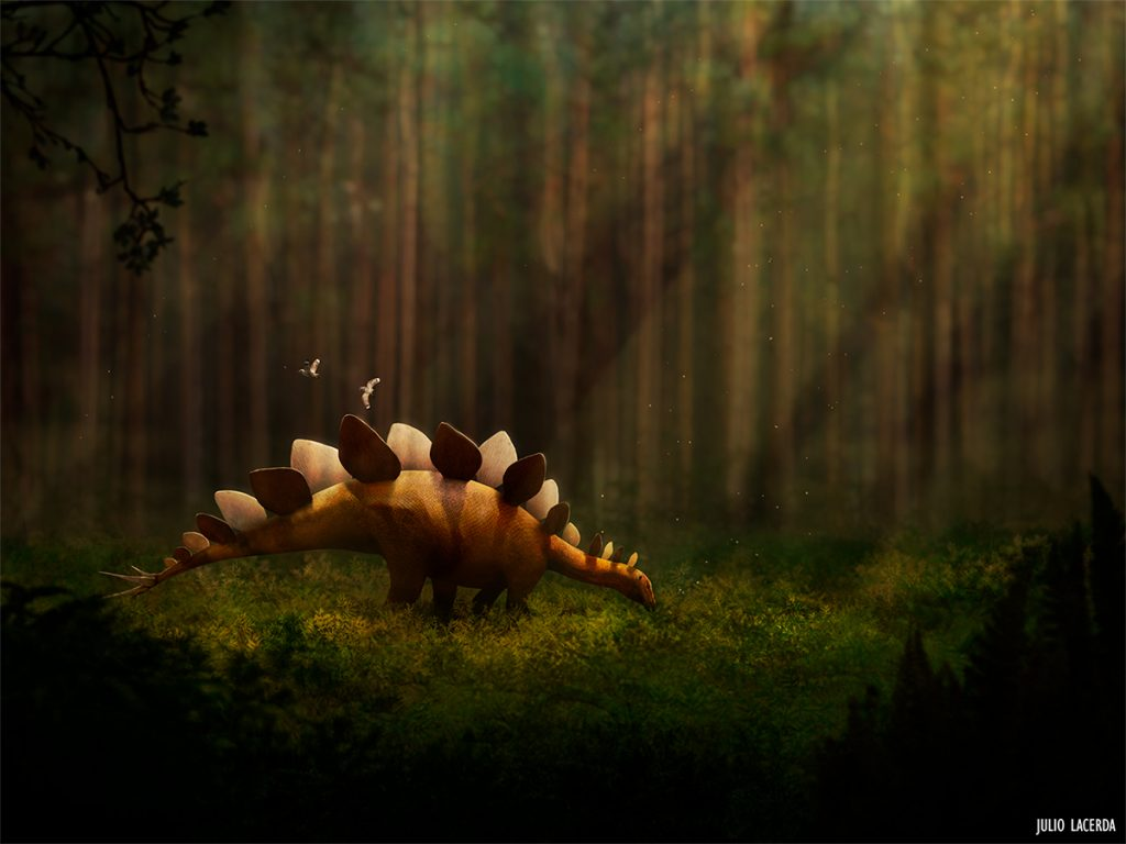 Sun rays shining down on a stegosaurus in the forest