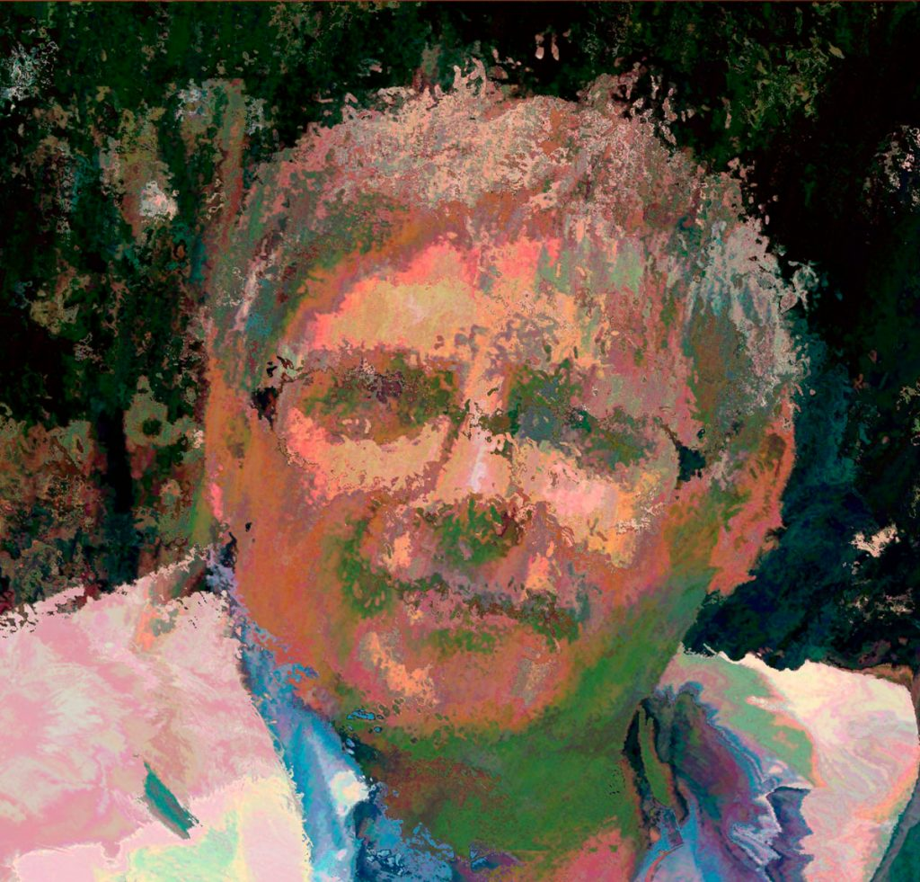 Self portrait of Allen Hirsh that has blurred lines, which almost makes it look like an oil painting.