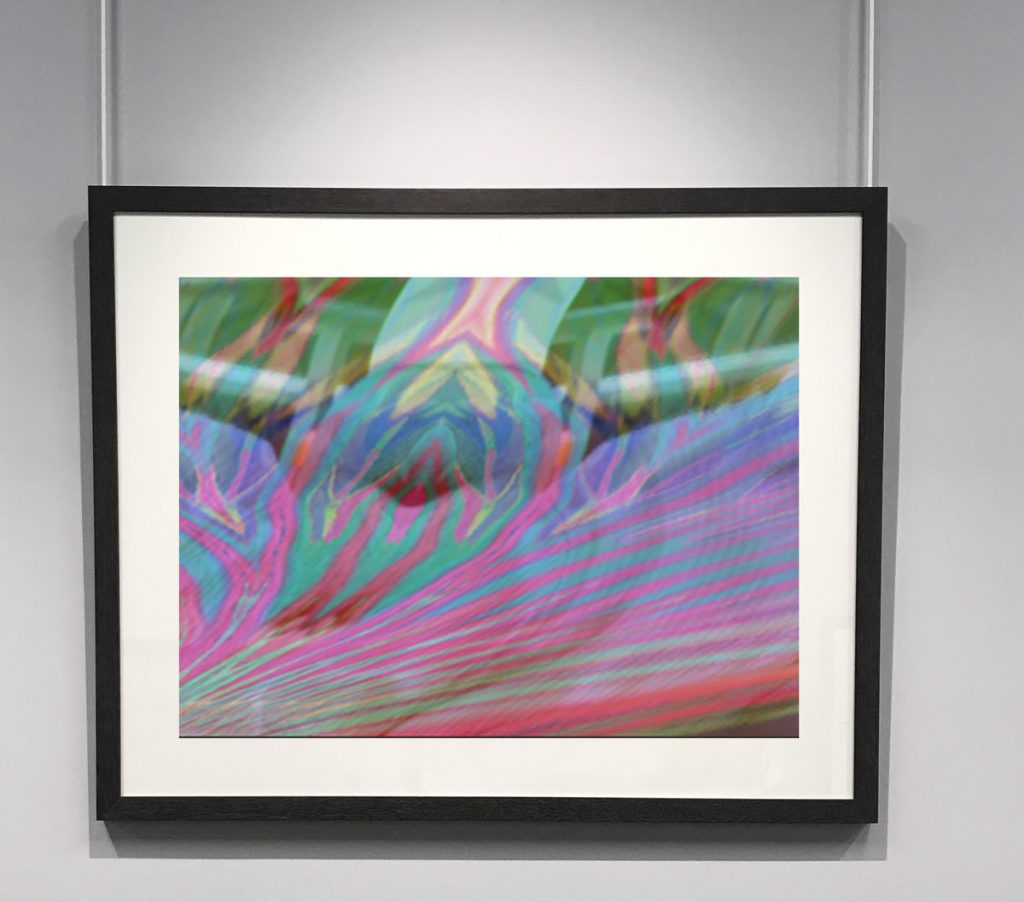 Framed image hanging on a white wall. Zebra-like stripes of pink, blue, purple, yellow, green, and red.