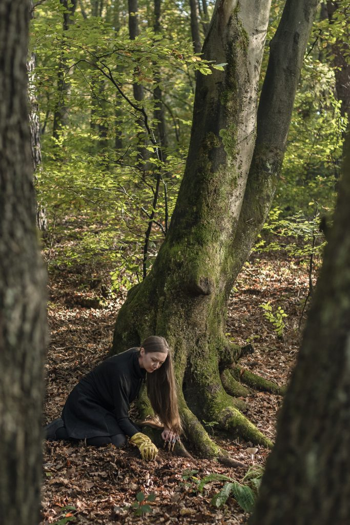 Spela Petric at work on the forest floor