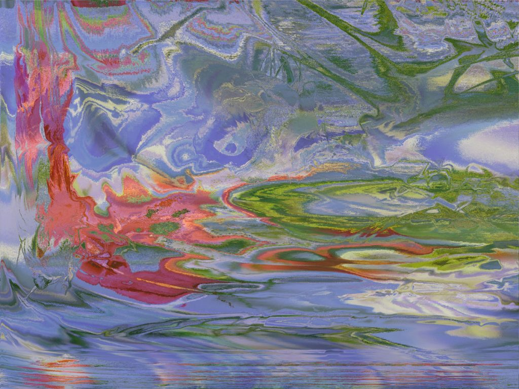 Different shades of blue, green, and red swirl together, almost looking like an abstract pond.