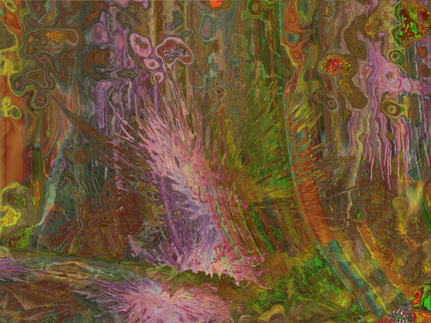 Green, pink, purple, and orange lines and splatters fill the image.