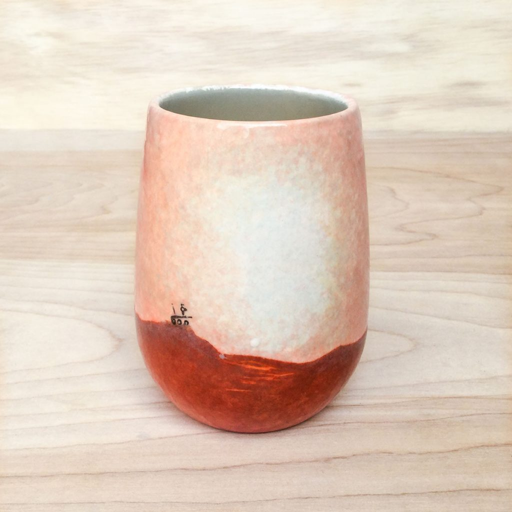 """Ceramic wine glass with a tiny version of the Opportunity """"Oppy"""" Mars Rover on the surface of Mars."""