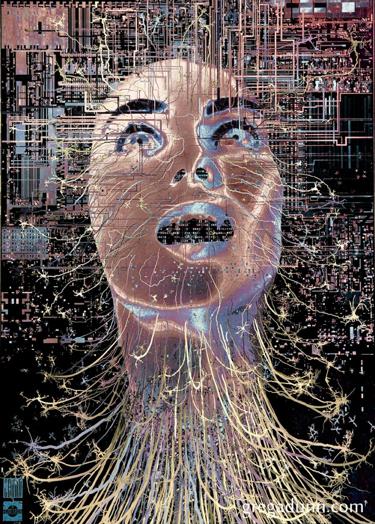 Person's head looking upward with circuit components above their head and thin neurons that look like wires extending from the face and neck.