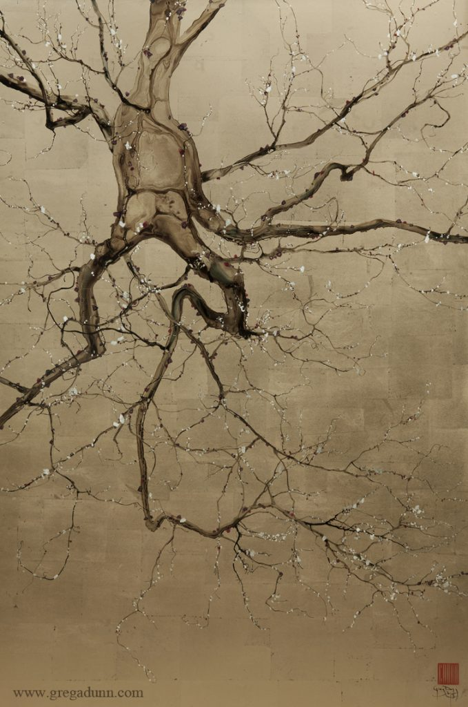 Neuron that looks like a gnarled, floating tree trunk and branches.