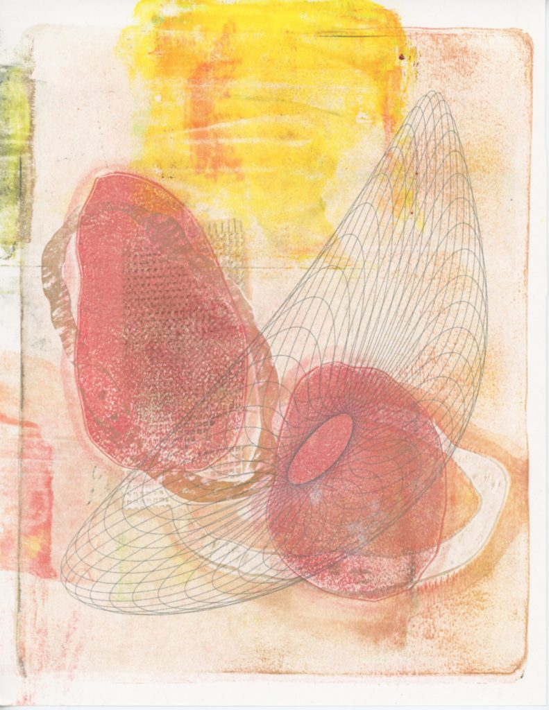 Abstract yellow and peach colored shapes in the background with a stretched oval with a fishnet pattern on top.