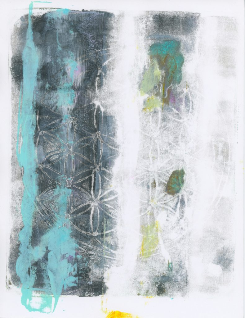 Faded vertical stripes of shades of gray, blue, and green run across the paper. In the center is a round imprint with a geometric flower pattern within.