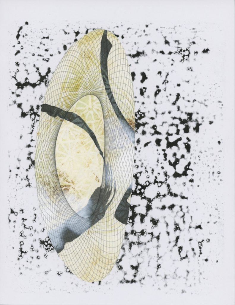 Irregular oval shape with a fishnet pattern and yellow printing within. Charcoal gray speckles are in the background.