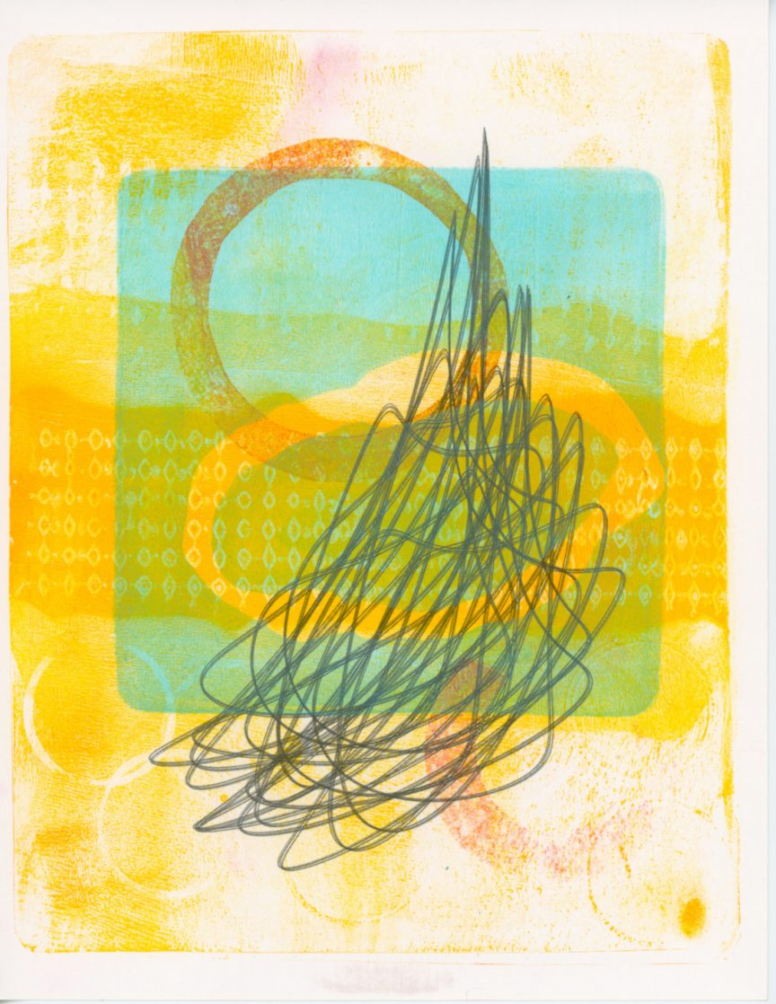 A gray scribble layered on top of a light blue square. The background is made of multiple faded yellow prints.