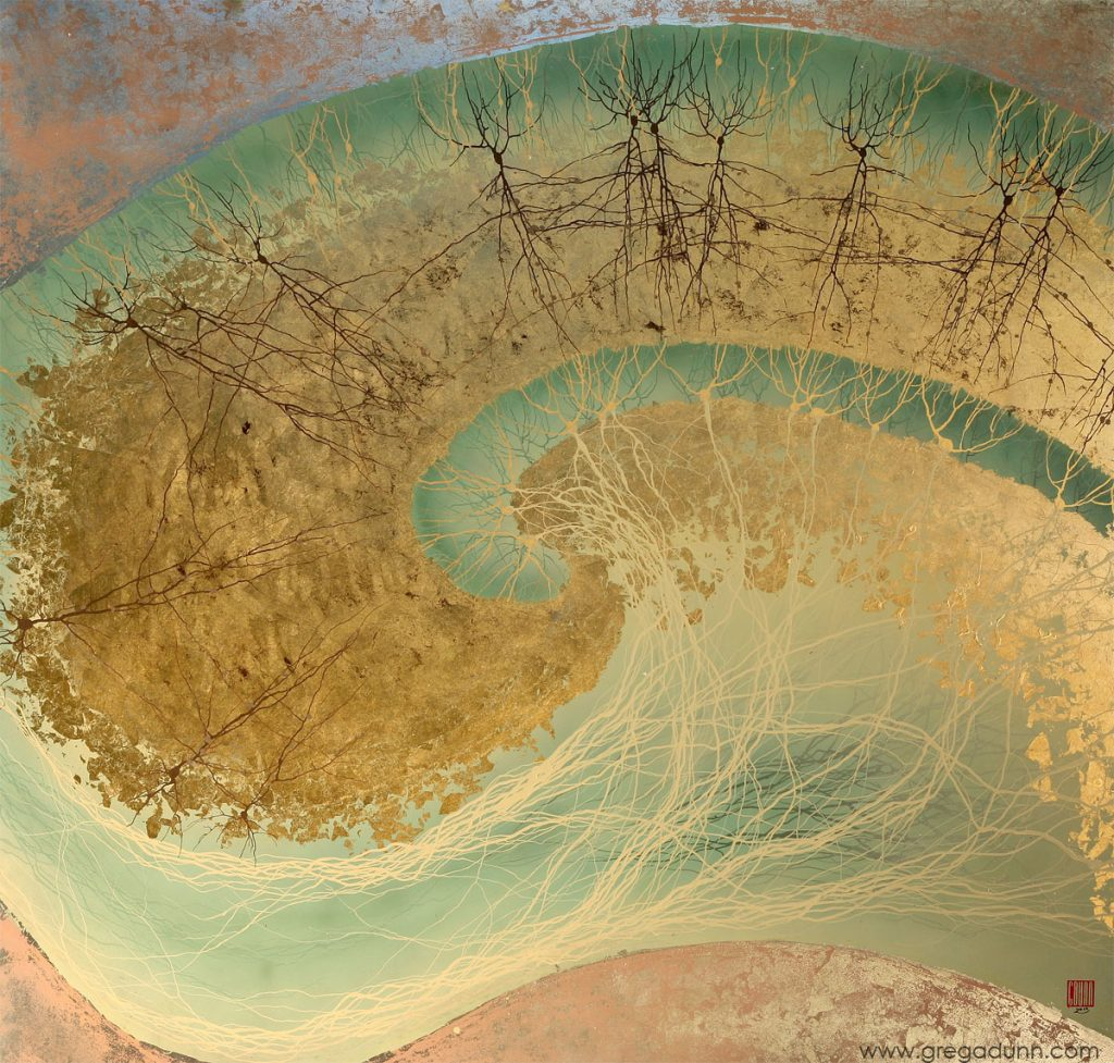 Classic hippocampus swirled shape in light teal and gold. Within the swirl are thinly branching gold and black neurons.