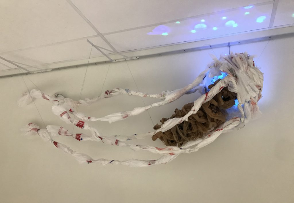 Sculpture of a jellyfish made of plastic shopping bags