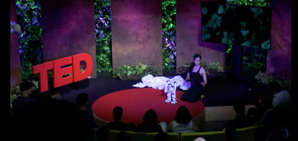 Catie kneeling with a small robot on the TED talk stage.