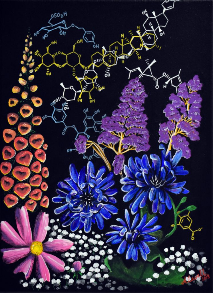 Colorful painting of flowers and chemical structures