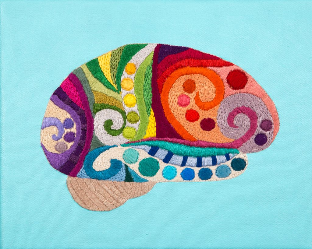 Brain viewed from the side and embroidered with different colors and patterns.