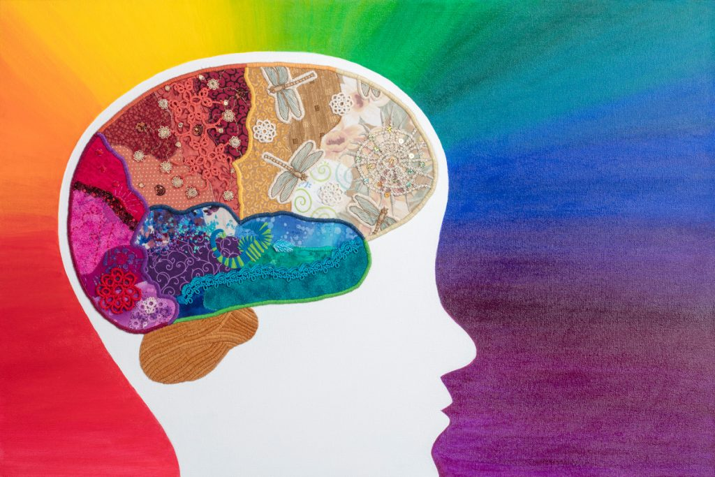 Colorful brain made of different fabrics and materials within a white silhouette of a head. The background is rainbow colors.