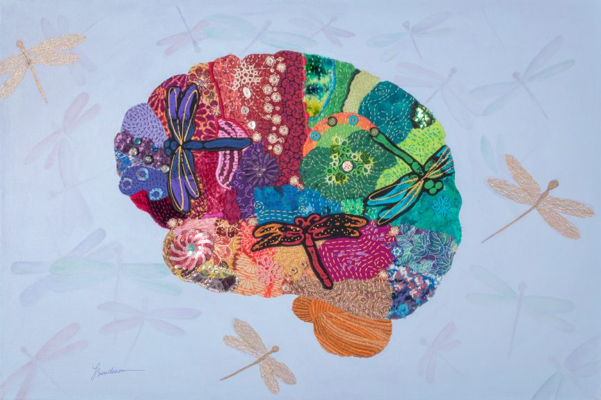 Rainbow-colored brain made of fabric with different textures and patterns. Contains dragonflies. Brain is viewed from the side.