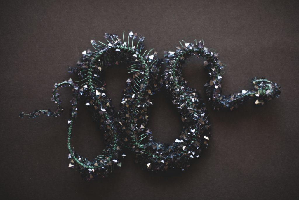 Snake skeleton with black/dark purple crystals