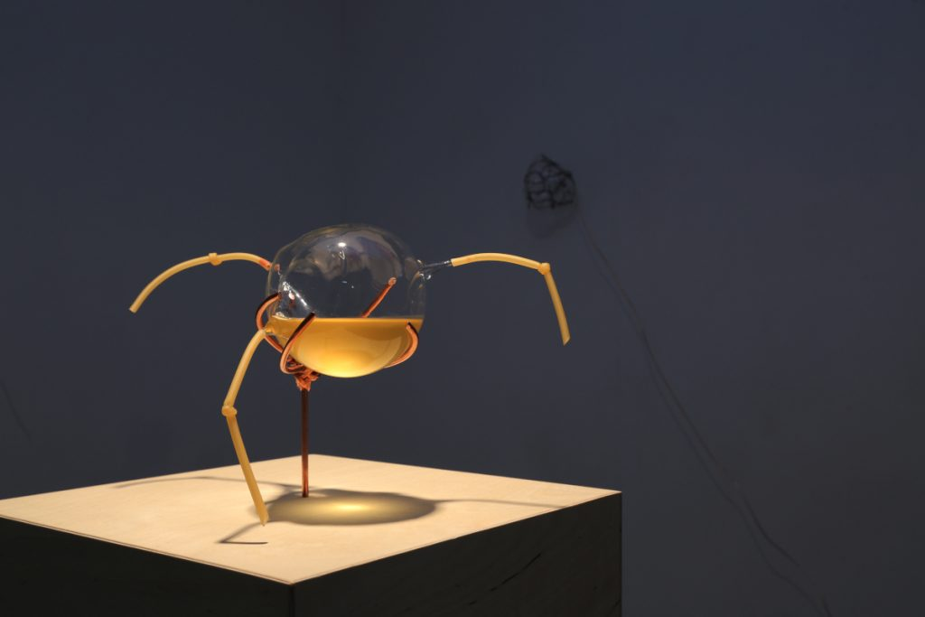 Round glass container halfway filled with amber liquid. Three appendages that look like straws are sticking out from the container.
