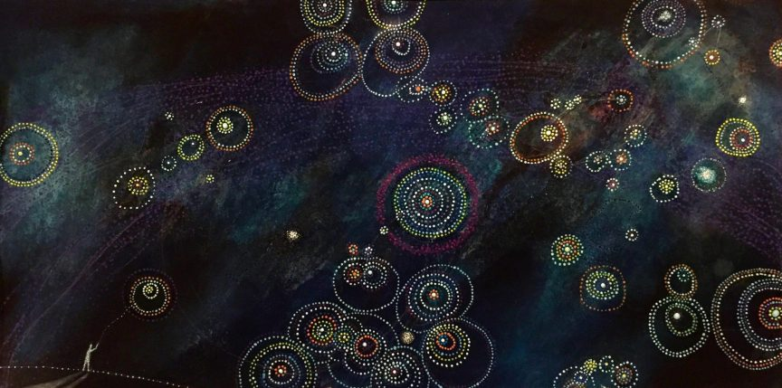 Multicolored dark night sky with bright rings of dots as the stars. There's a small person in the corner looking at the night sky.