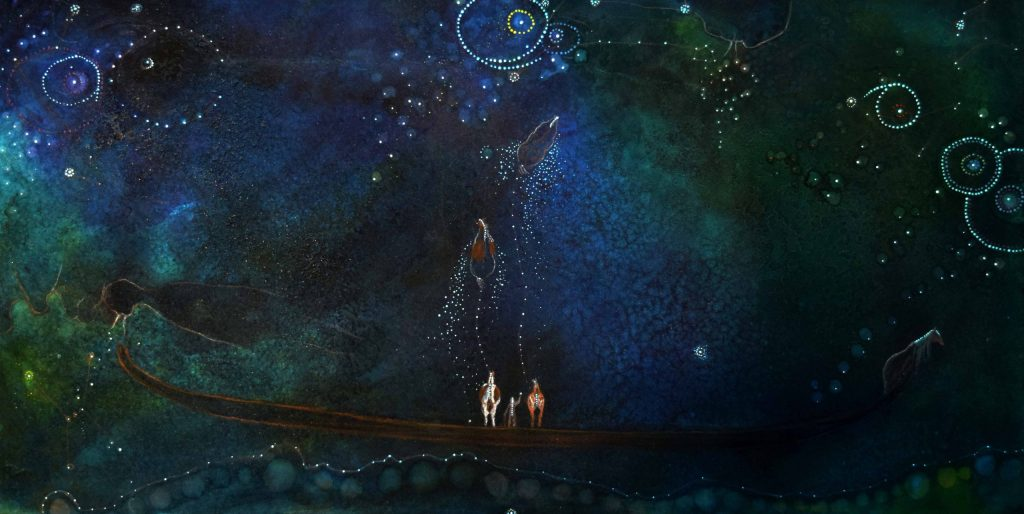 Small person standing between to small horses beneath a night sky. The horses' spirits seem to be joining the stars in the night sky.