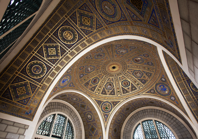 Geometric mosaic on the interior of a dome
