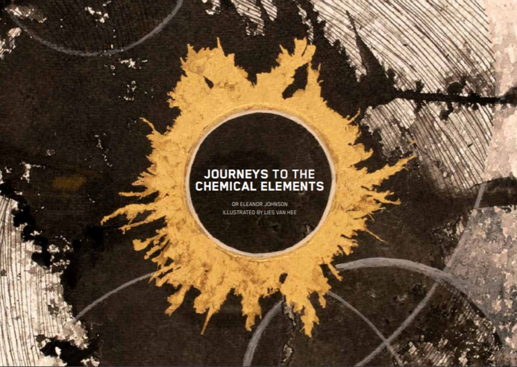 """Swathe of black watercolour with sun-like golden circle at the center. The book title """"Journeys to the Chemical Elements"""" is written in the middle."""
