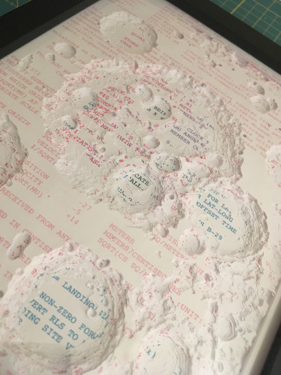 Moon topography sculpted using print outs of data set. Pink, purple, and blue ink on white paper.