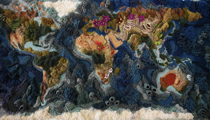 The Botanical tapestry, which shows a colorful world map and displays threatened flowers and corals.